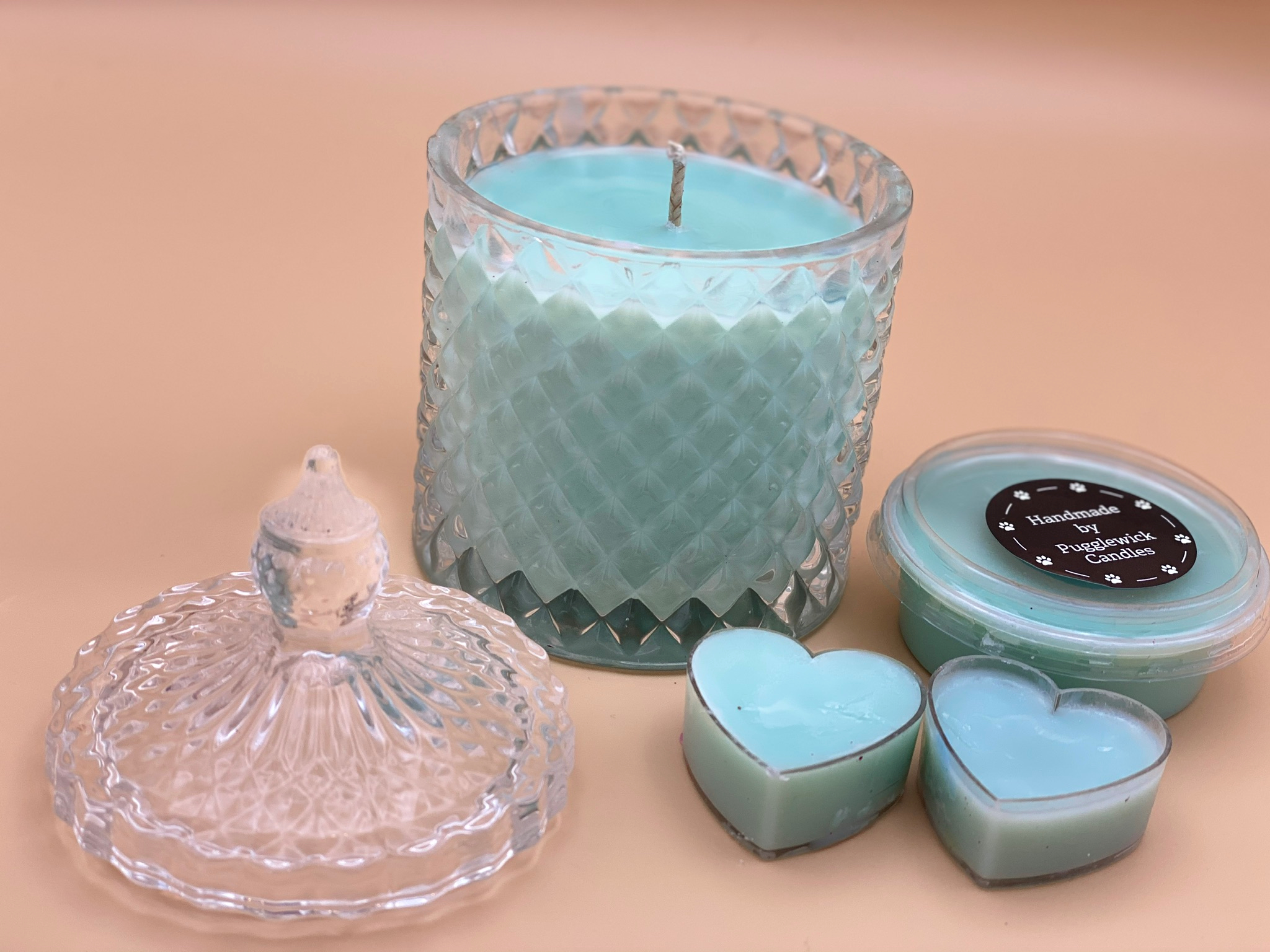 Luxury Soy Wax candles in Geo Glass in 3 colours and various scents - Pugglewick Candles