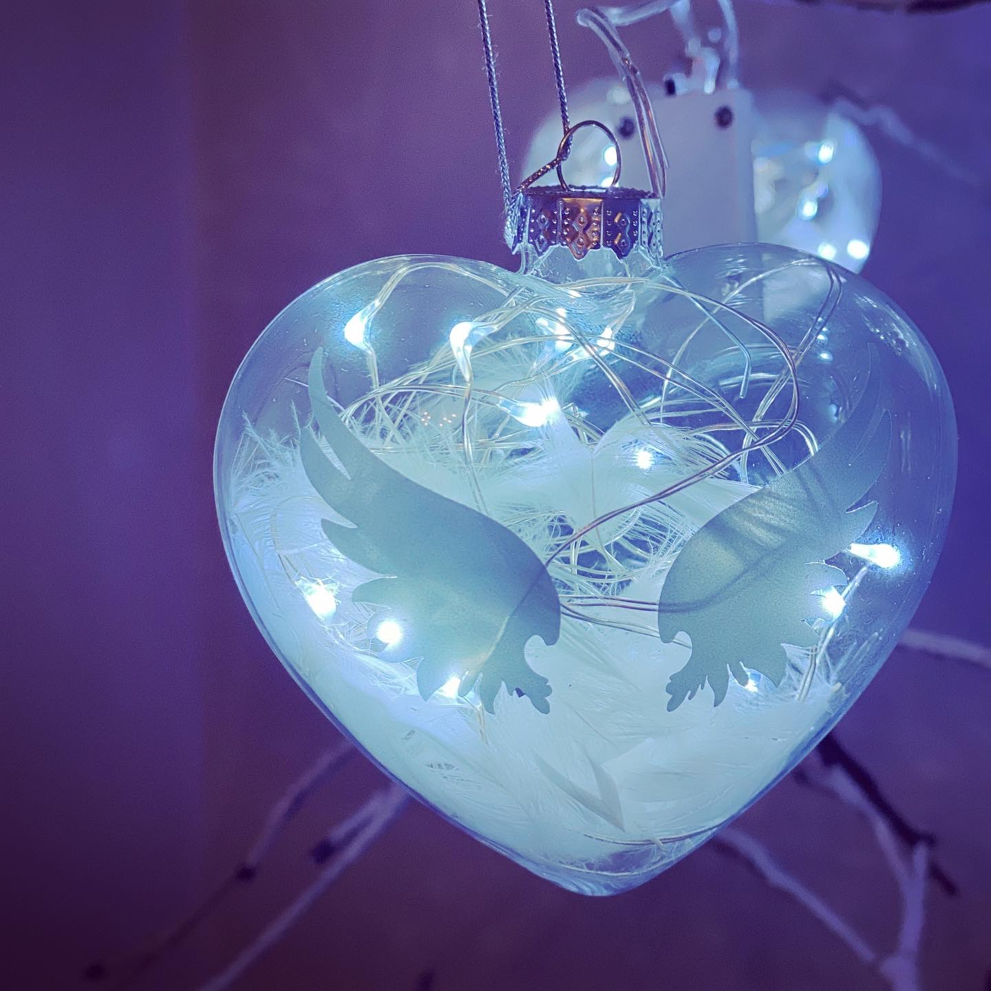 Glass in memory bauble with LED lights - Pugglewick Candles