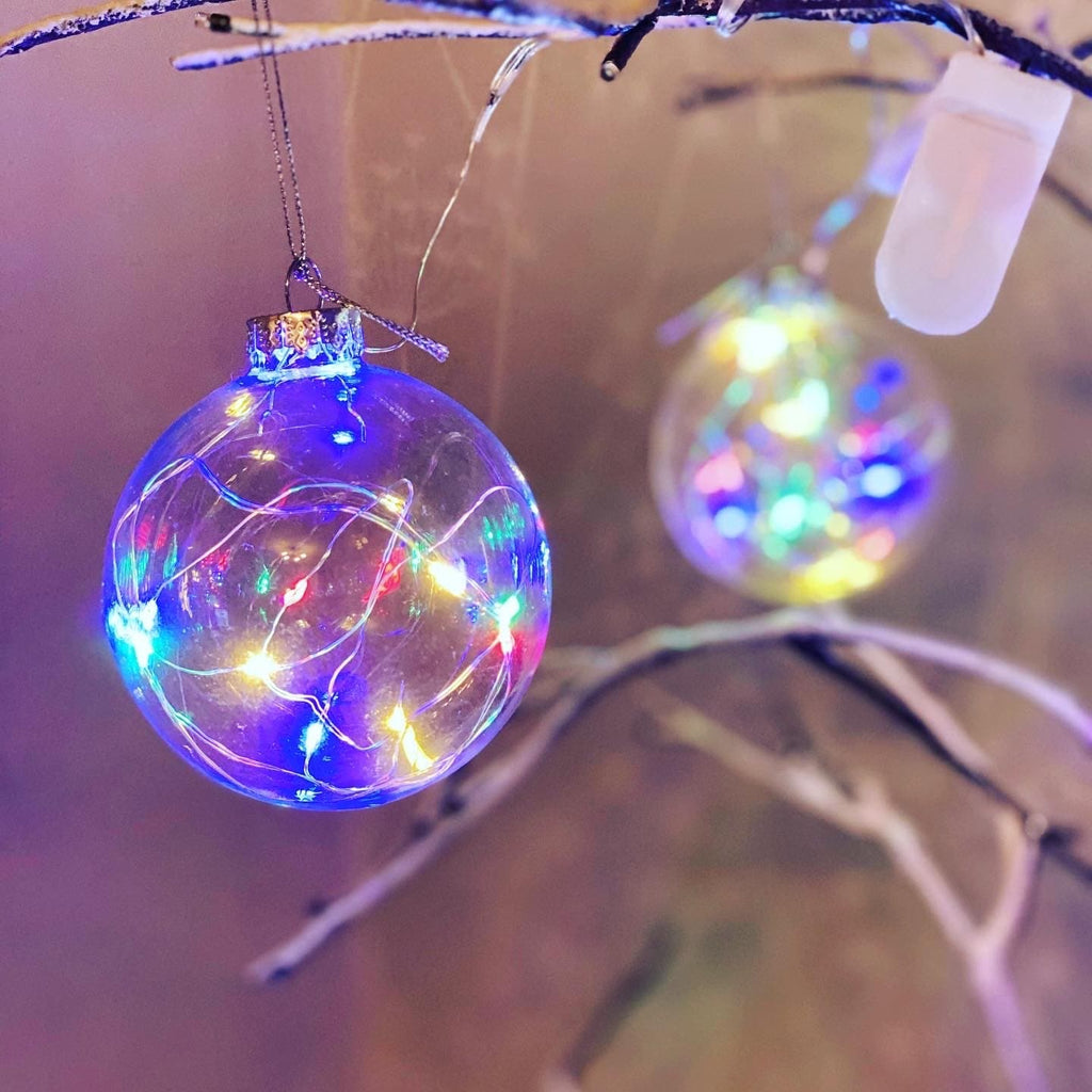 Glass light up Christmas bauble - Pugglewick Candles