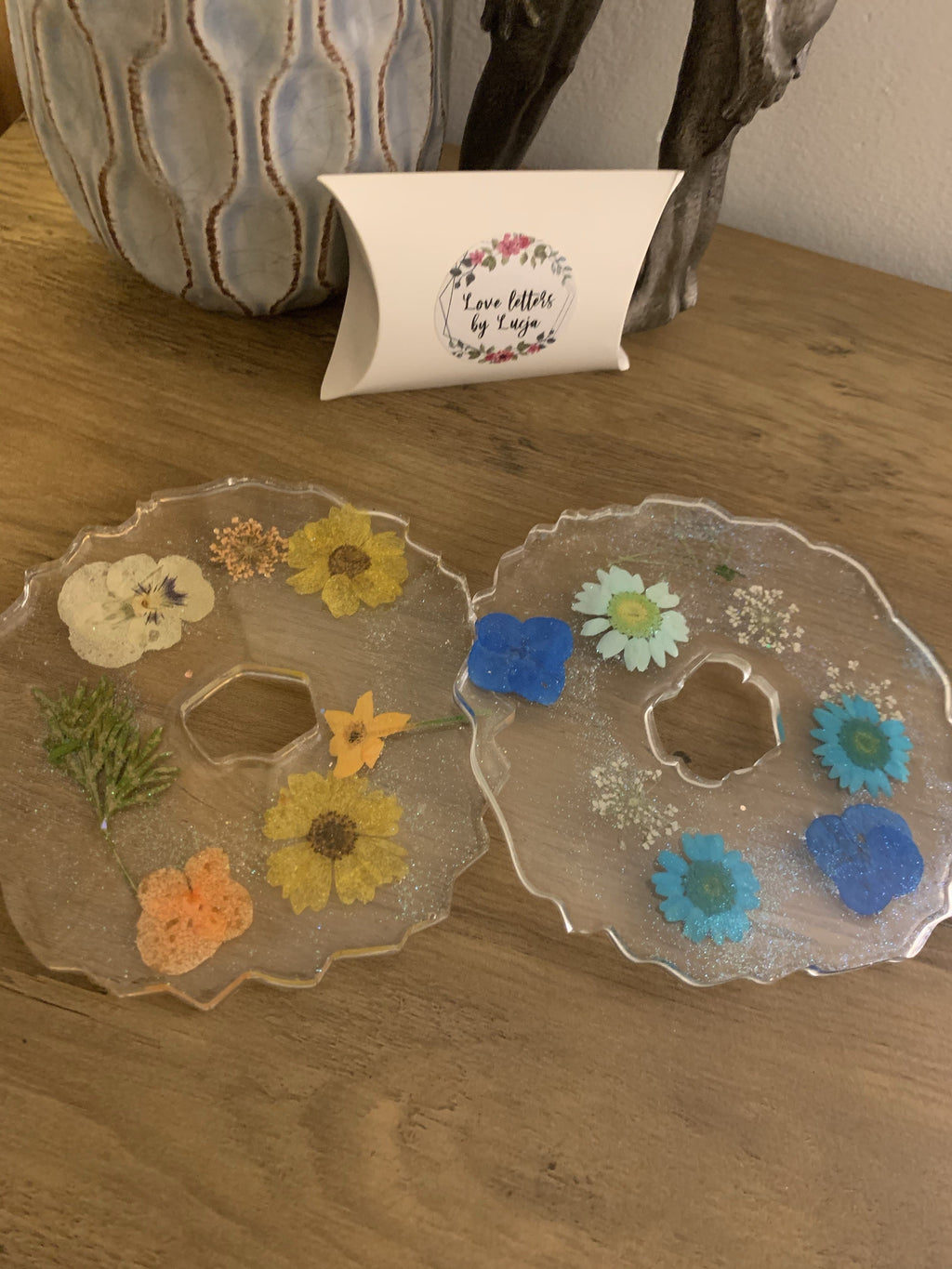 Flower tea coasters resin