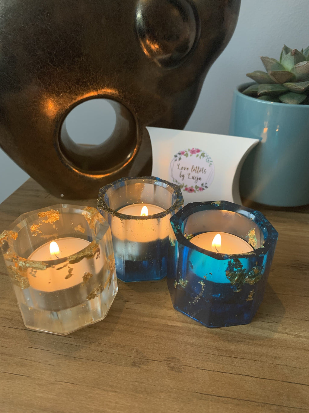 Resin tea light holder set of 3  keyring