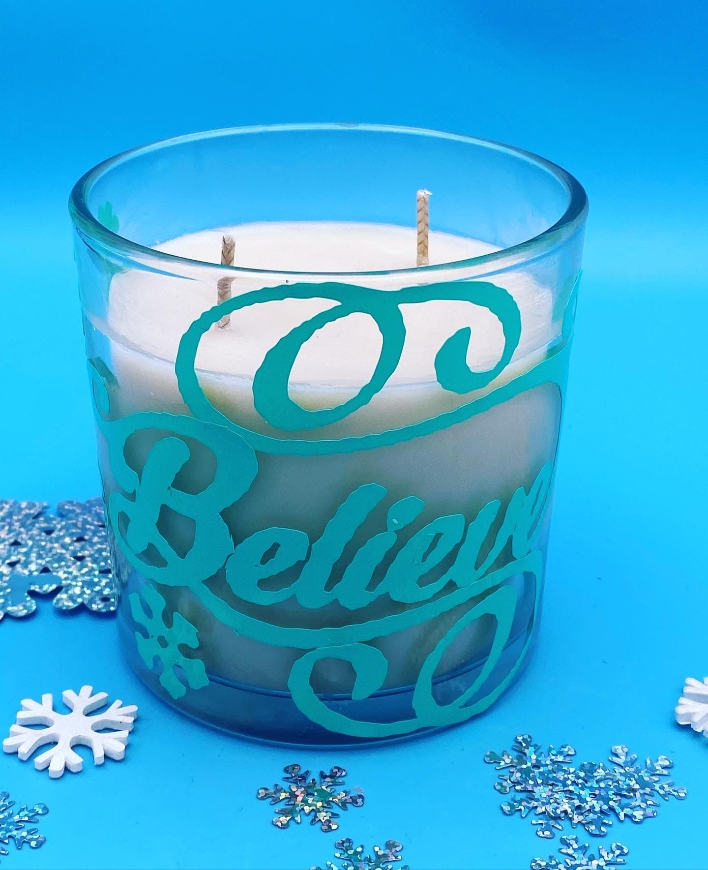 Extra large believe candle 2 wicks