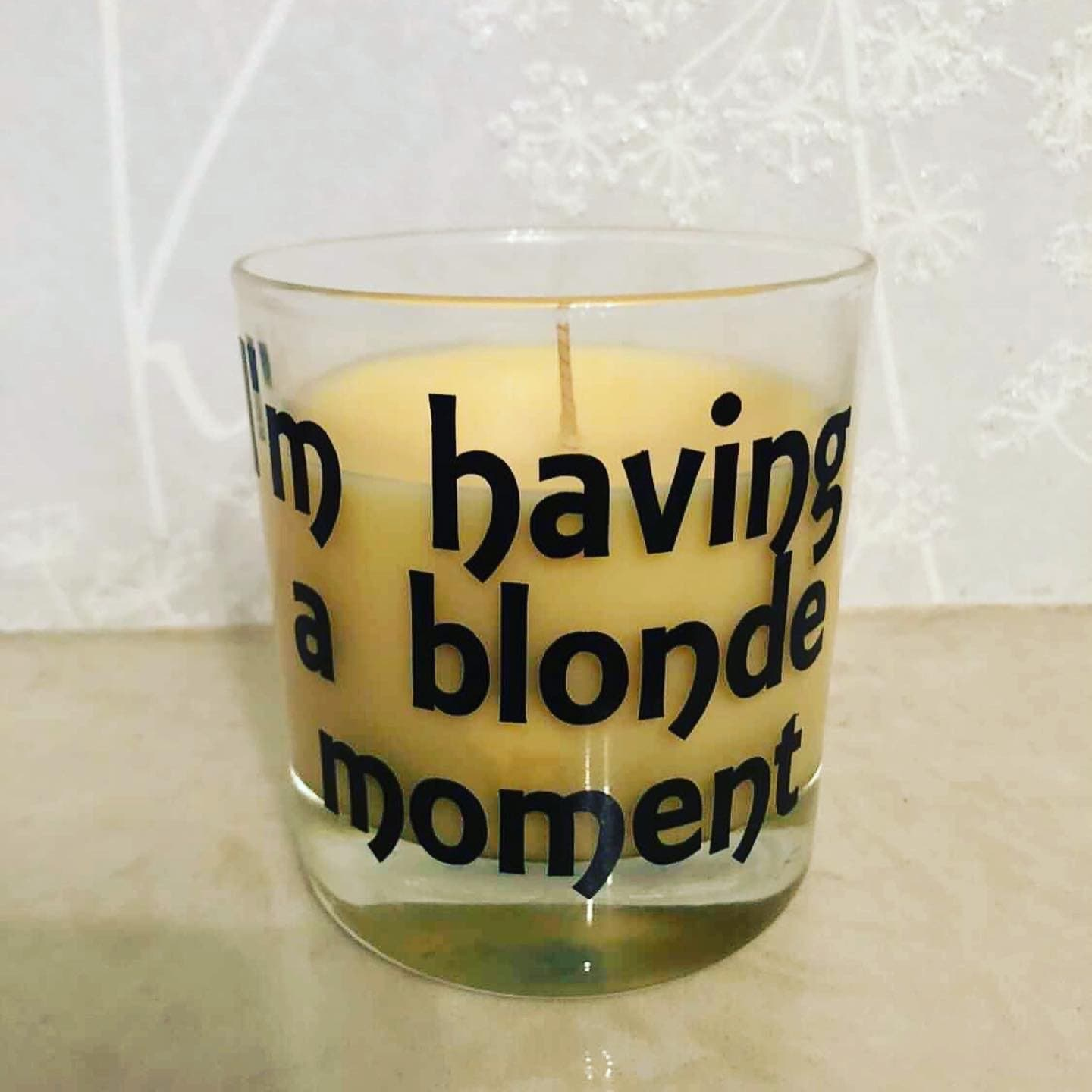 I am having a blonde moment candle 2 sizes