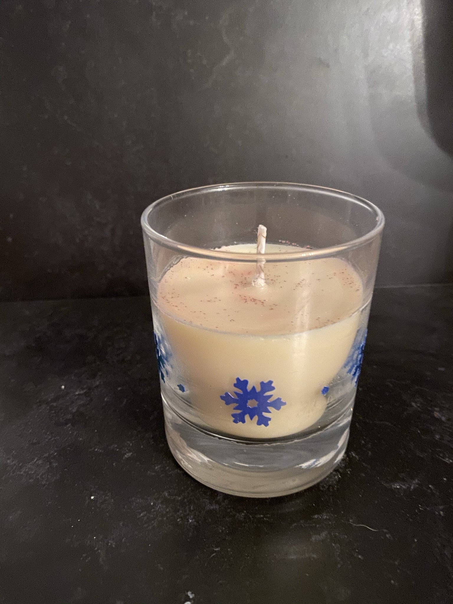 Christmas candles with snowflakes