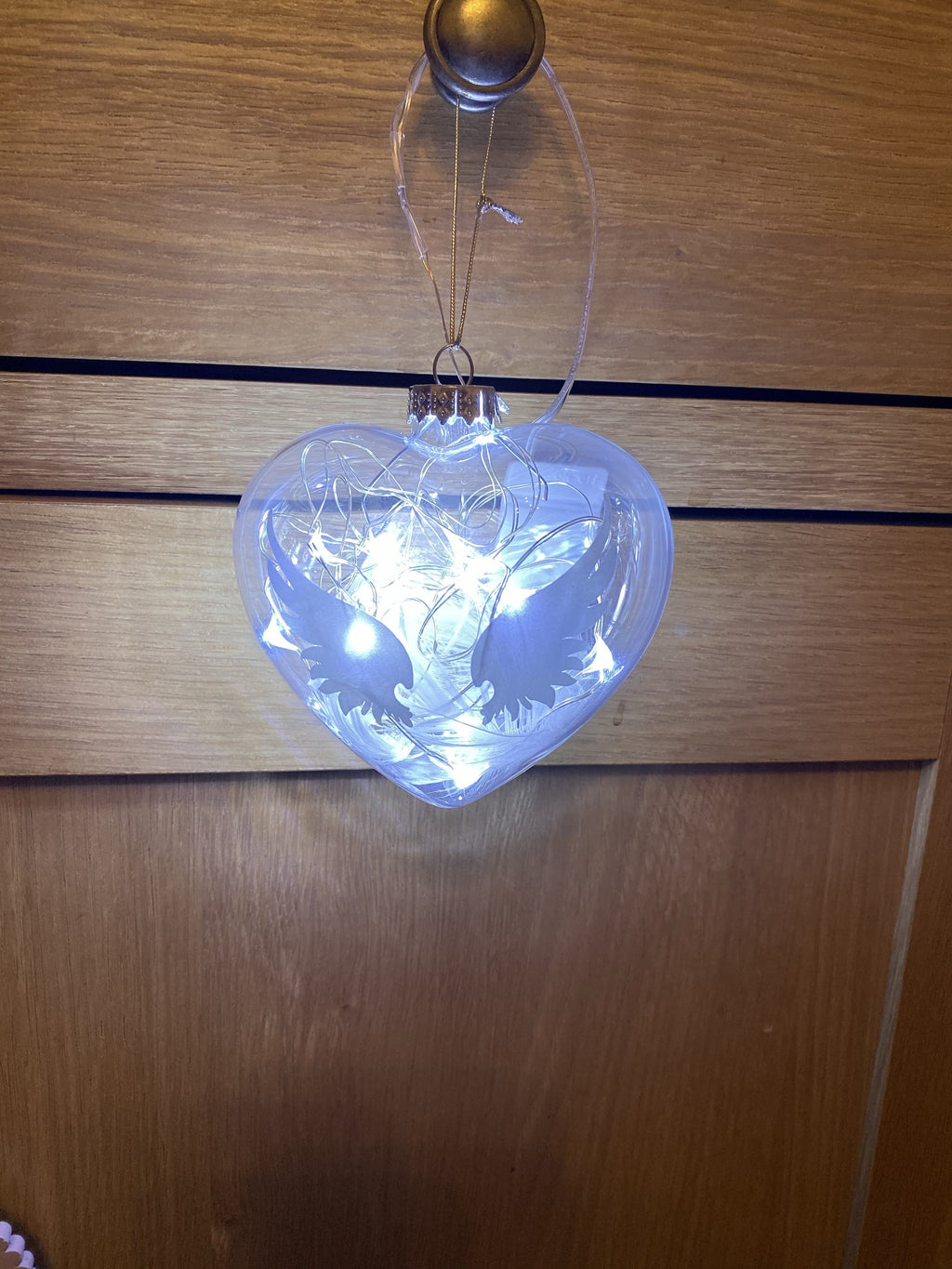 Glass in memory bauble with LED lights