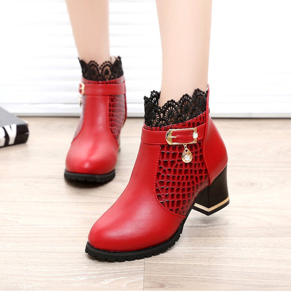 Buckle Zip Plaid Lace Ankle Boots