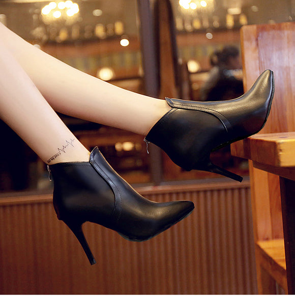 Pointed Toe Ankle Boots With Zipper