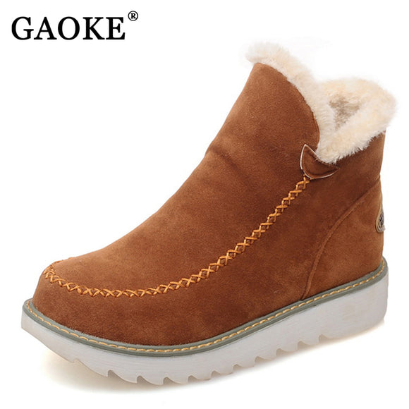 Women Round Toe Snow Boots With Fur