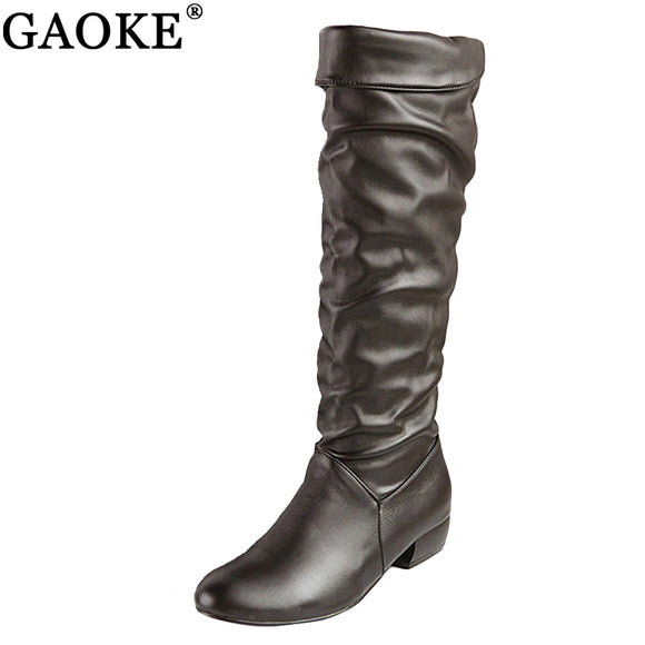 Large size  Knee high half heels boots