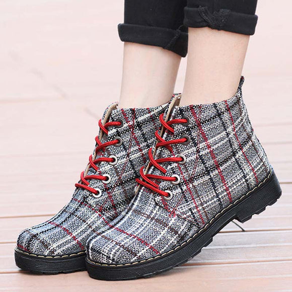 Women Canvas Lace-up Martin Boots