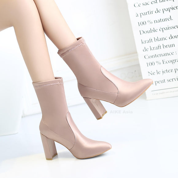 Pointed Toe Silk Ankle Heels