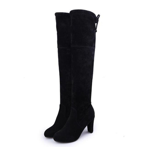 Over The Knee Square Heel Boots