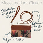 Load image into Gallery viewer, Clutch bag Protea sketch on blue