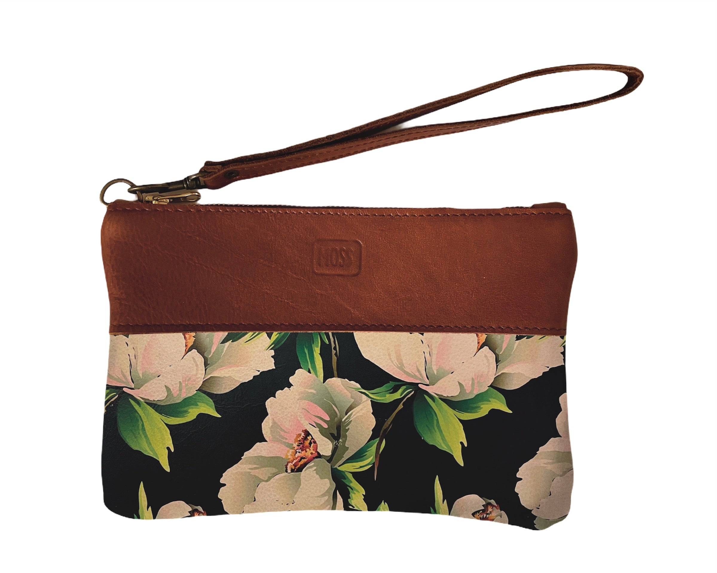 Clutch bag Magnolias on Navy