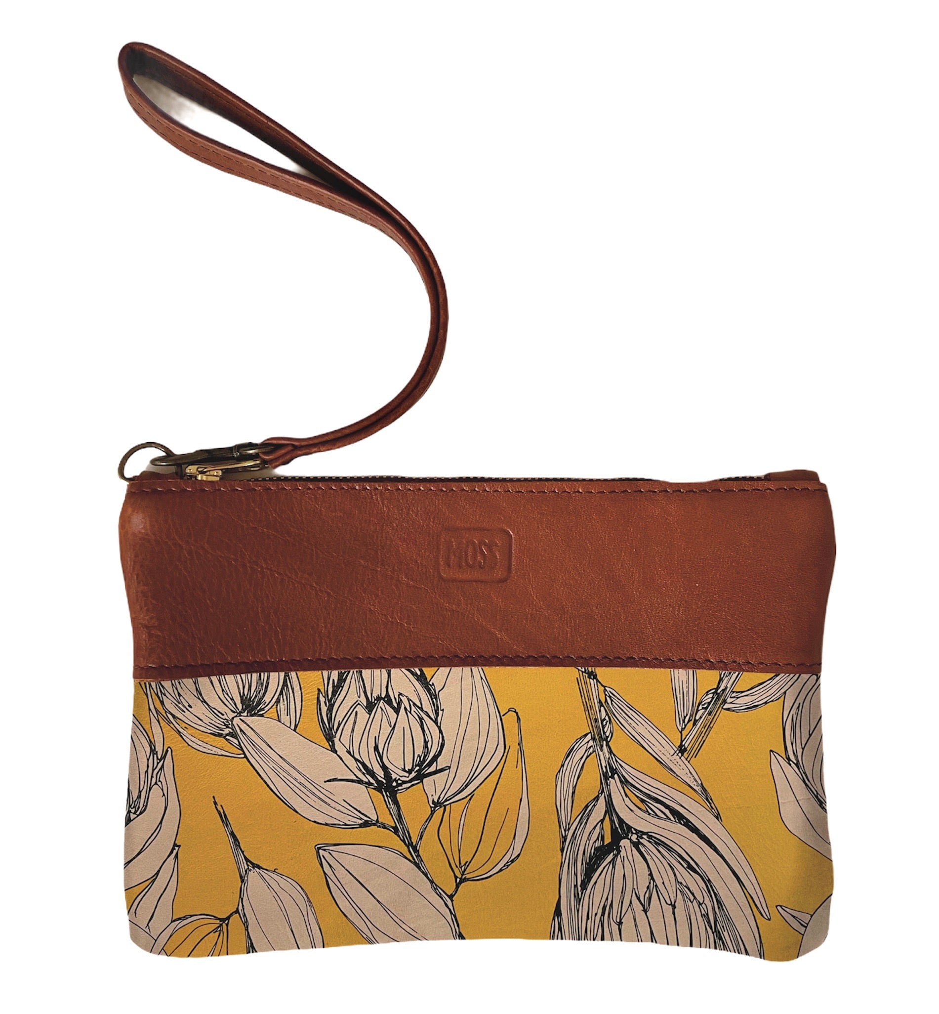 Clutch bag Protea sketch on yellow