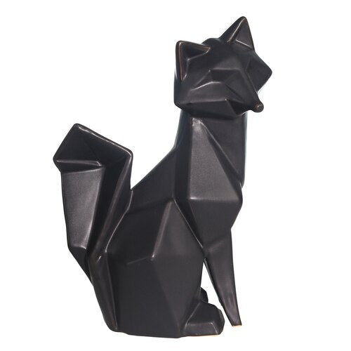 CERAMIC 10 FOX TABLE ACCENT,, BLACK