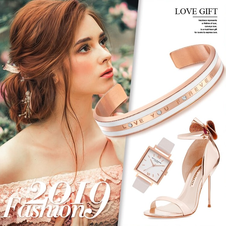 Bracelet Or Rose Femme I Love You Forever Tendance