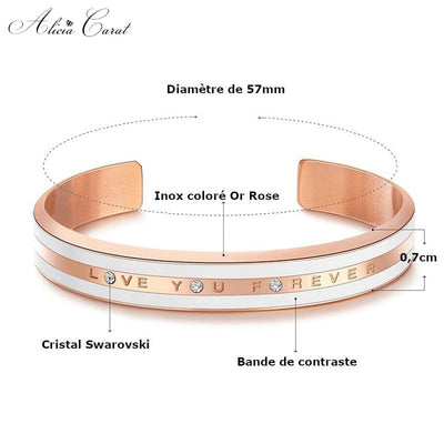Bracelet Or Rose Femme I Love You Forever Cristal Swarovski