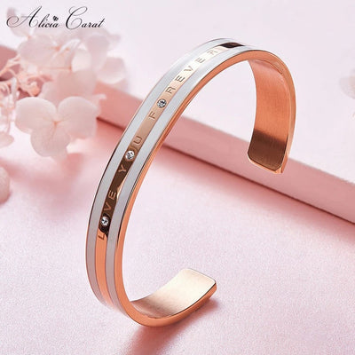 Bracelet Or Rose Femme I Love You Forever Inox