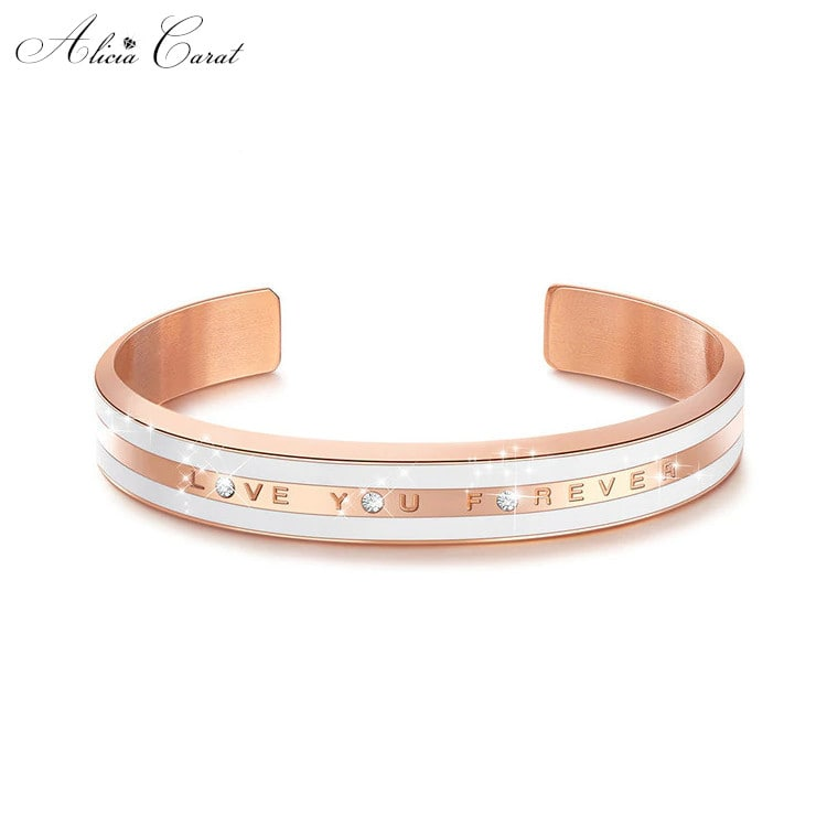 Bracelet Or Rose Femme I Love You Forever