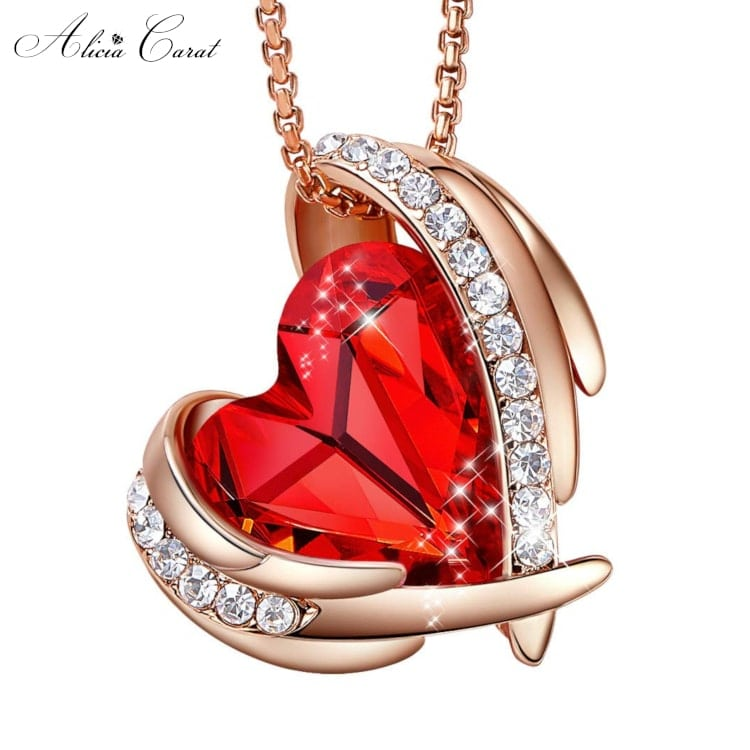 Collier Ailes d'Ange Or Rose Cristal Rouge