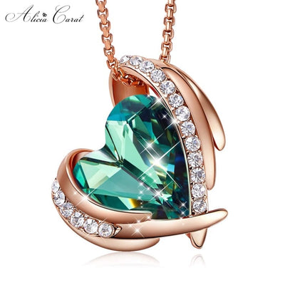 Collier Ailes d'Ange Or Rose Cristal Vert