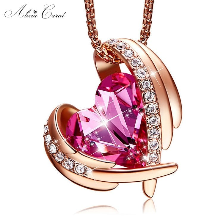 Collier Ailes Ange Or et Cristal Rose