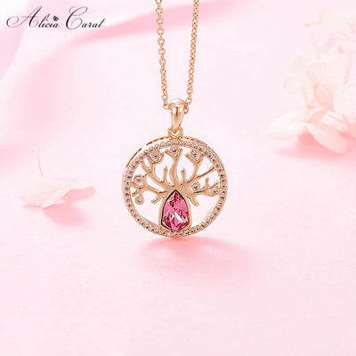 Collier Arbre de Vie Or et Strass Plaqué Or Rose