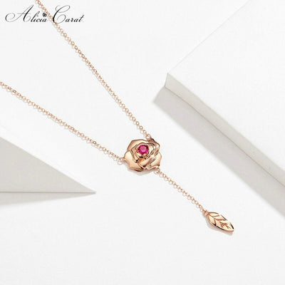 Collier Rose Éternelle Feuille en Suspension Alicia Carat