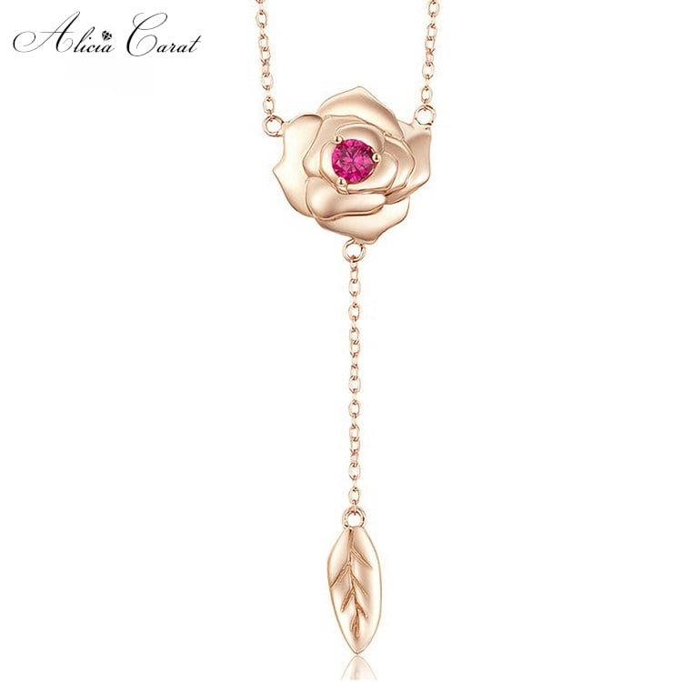 Collier Rose Éternelle Feuille en Suspension