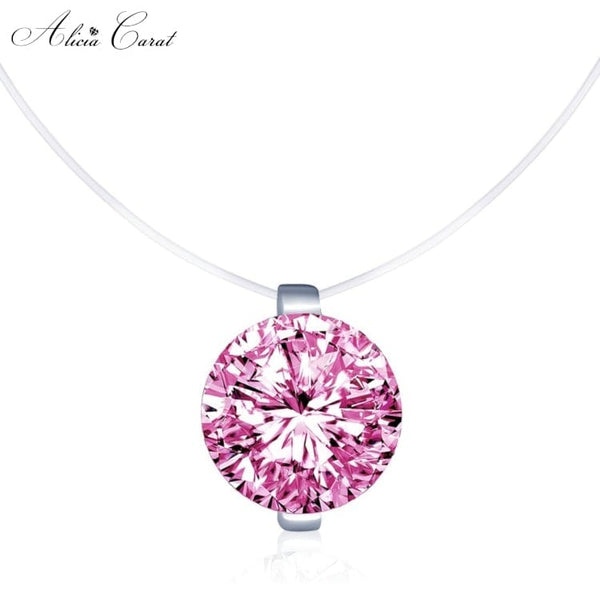 Collier fil de pêche Diamant rose