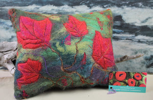 Red Maple Felted Pillow