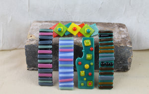 colorful glass barrettes