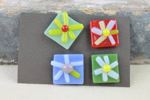 Colorful Flower Glass Magnet Set by Jeri Person