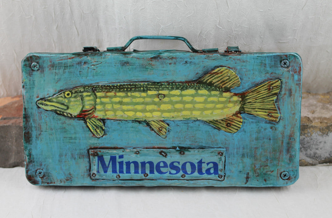 Tom McDonald Bear Island Art Factory / MN Pike on Toolbox / Repurposed Metal Art