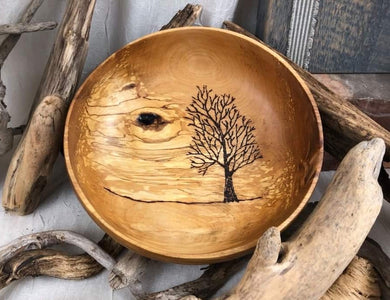 Hand Turned Birch Bowl with Tree