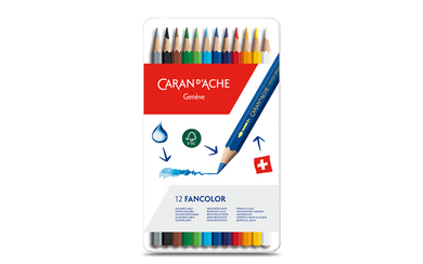 Water-soluble color pencil 12 colors - Caran d'Ache