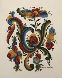 Scandinavian Rosemaling Prints by Lucia Carlson