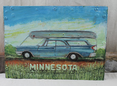 Tom McDonald / Bear Island Art Factory / Vintage 1961 Chrysler Station Wagon with Canoe / Repurposed Metal Art