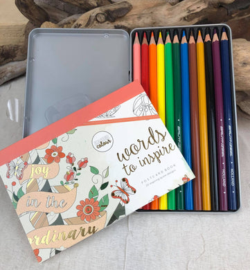 Words to Inspire Postcard Book with 12 Colored Pencils & Sharpener