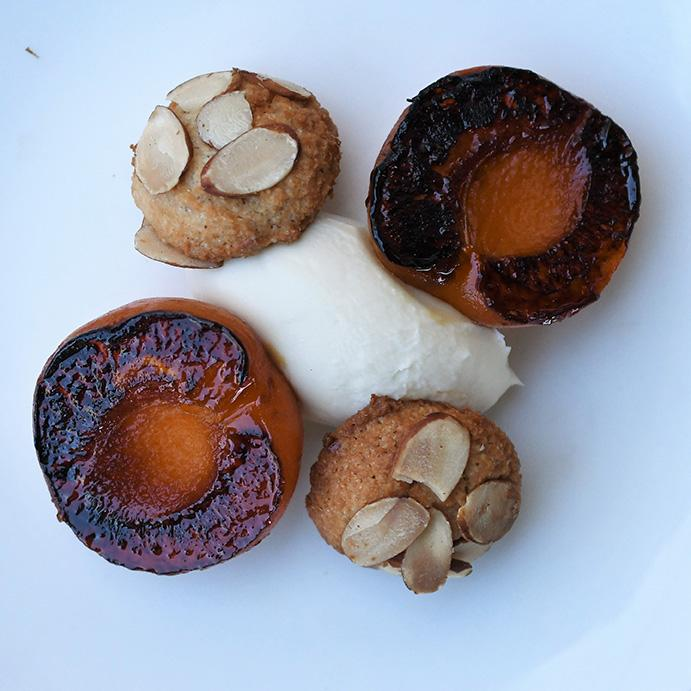 Charred Apricots with Honeyed Mascarpone and Amaretti Cookies