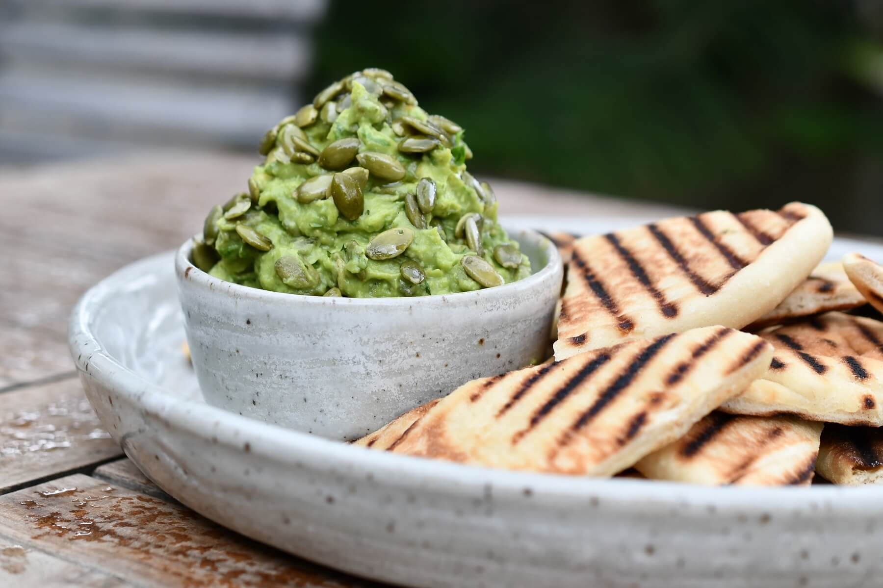 Curried Avocado with Grilled Naan