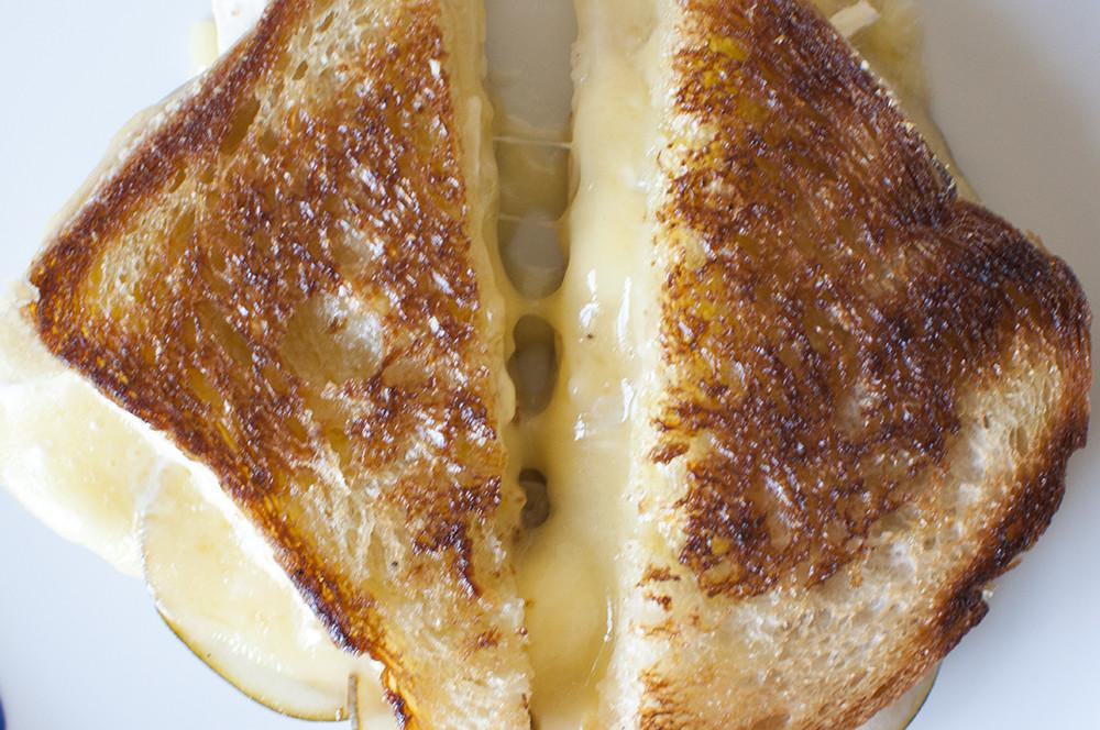 Rustic Rye Grilled Cheese with Ham & Asian Pear Chutney