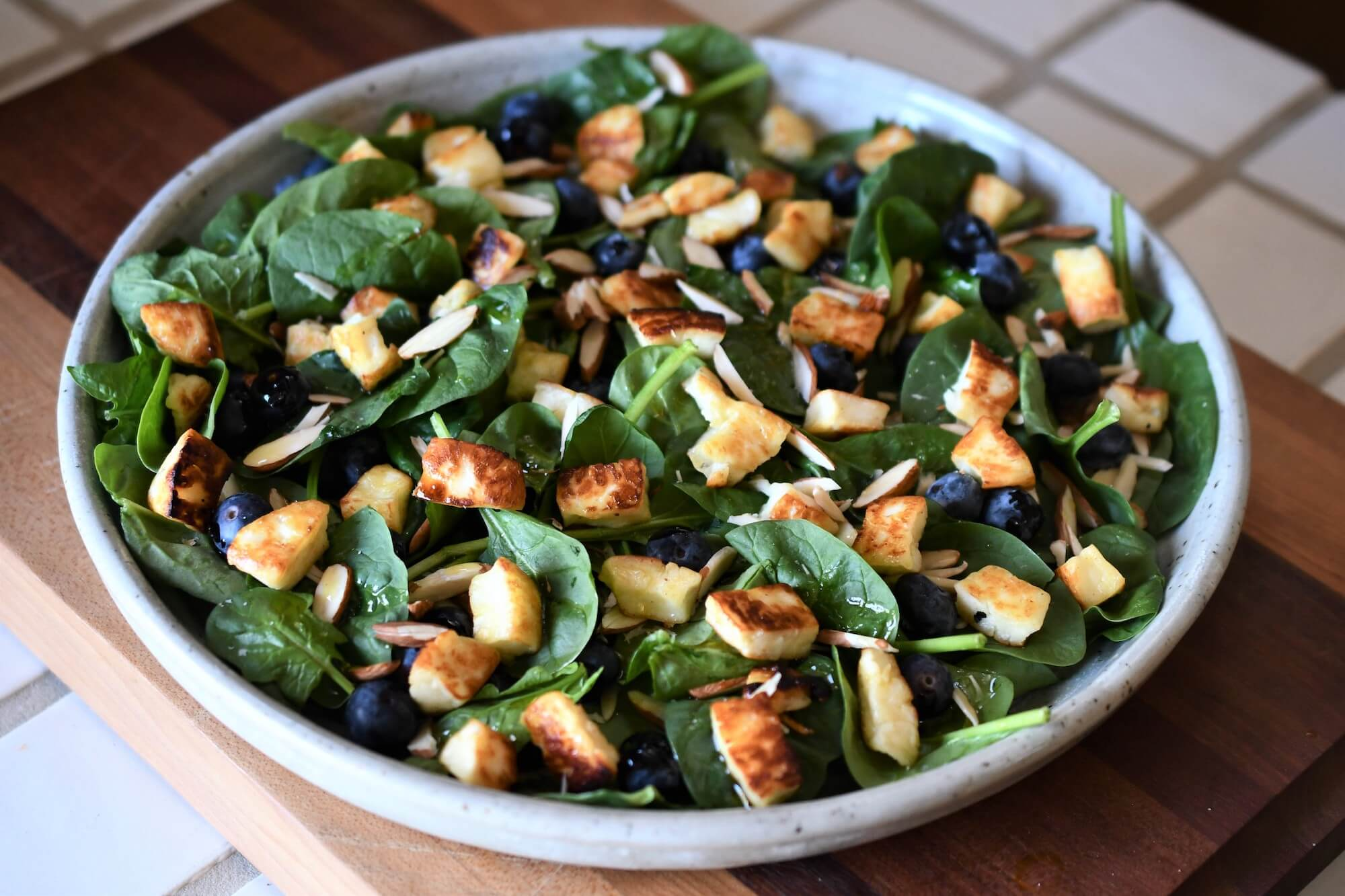 Spinach Salad with Cheese, Blueberries and Shaved Almonds