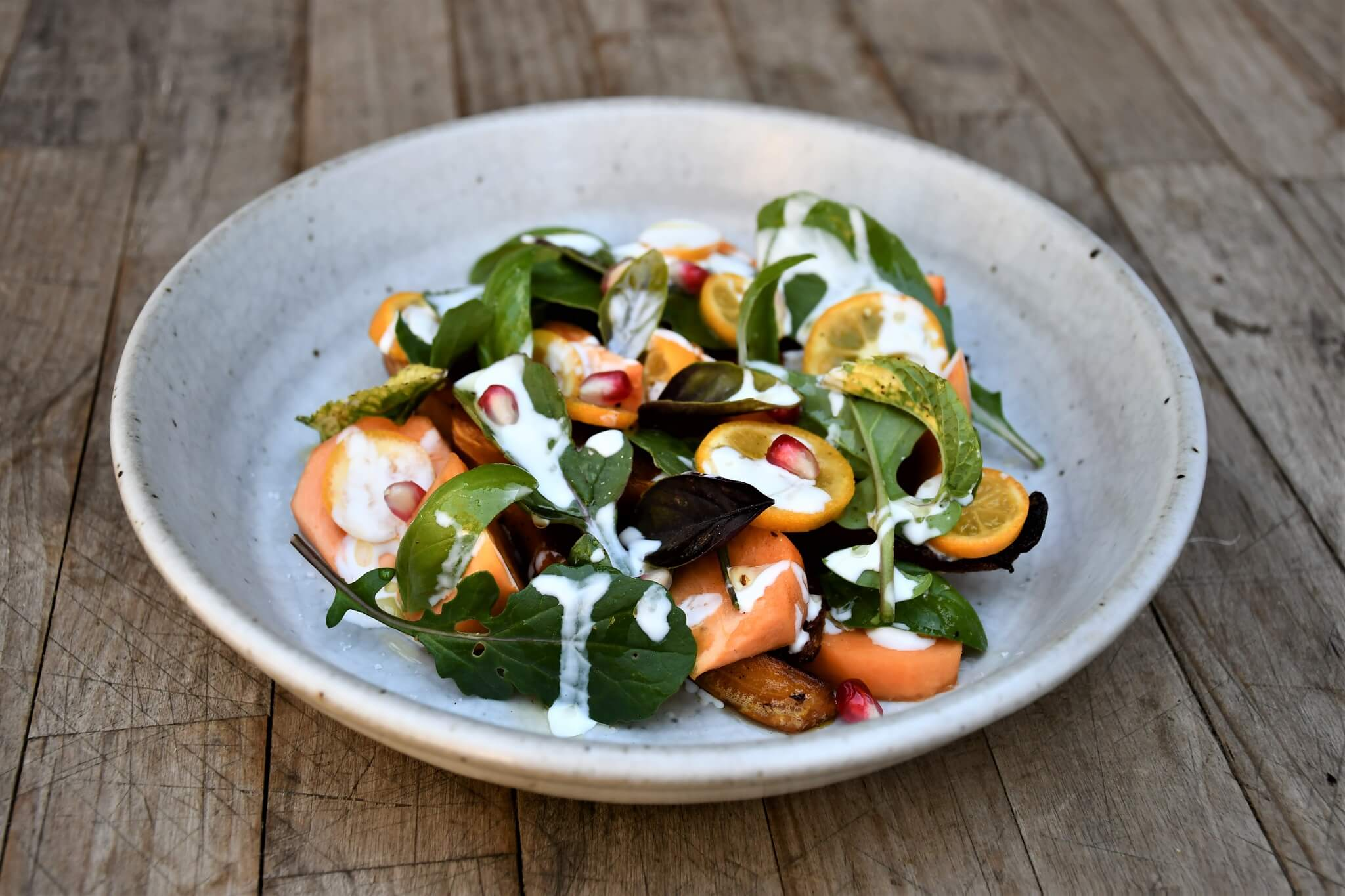 Fall Salad of Roasted Honeynut Squash, Fuyu Persimmons, and Kumquats