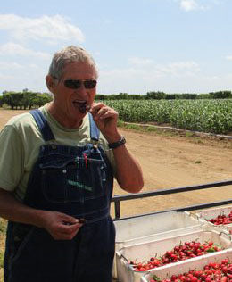 farmer al tasting a brooks cherry