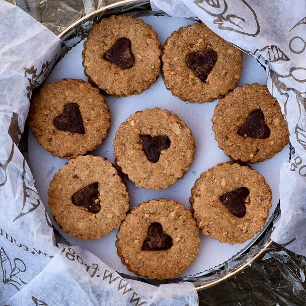 Chocolate Ganache Linzer Cookies