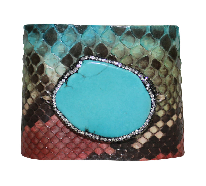 Python Bracelet Leather Cuff Turquoise Multi-color Snake Bangle Wrap