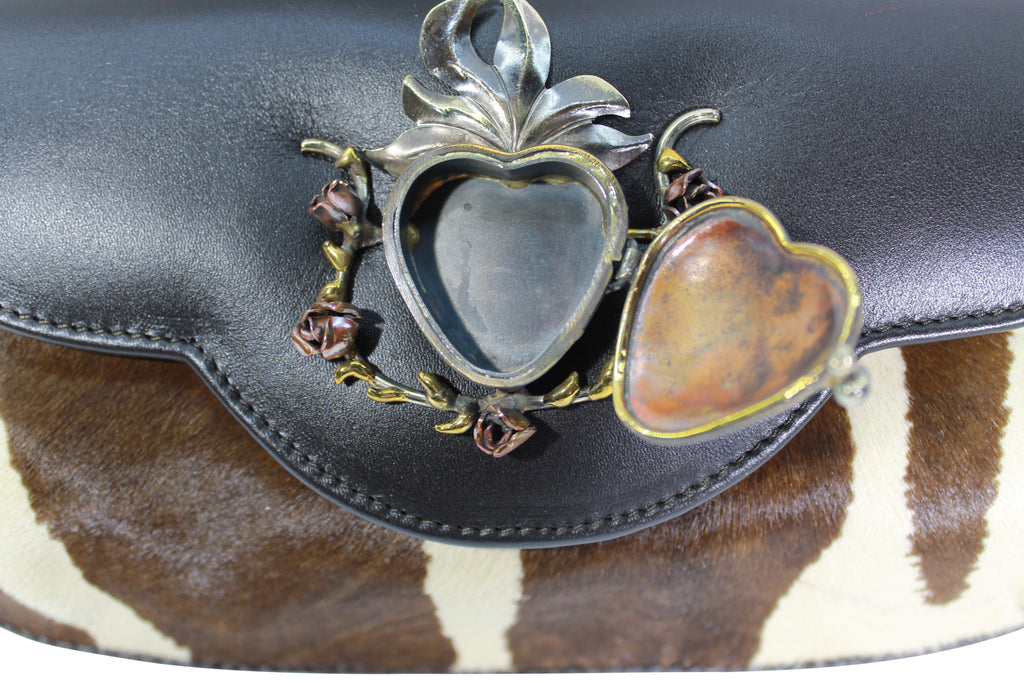 Hair calf leather clutch, Zebra hair calf leather cross body, Felipe Barbosa sacred heart locket, leather handbag, leather bag brown