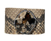Genuine Python Snake Cuff Bangle Bracelet w/Natural Stone & Crystals